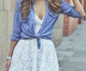 black purse, denim shirt, and white lace dress image