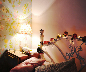 bedroom, fairy lights, and wallpaper image