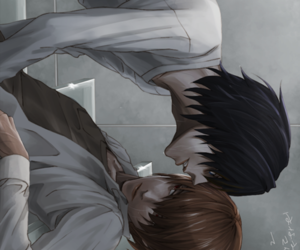 death note, l lawliet, and light yagami image