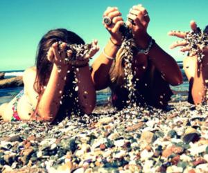 girl, beach, and sand image