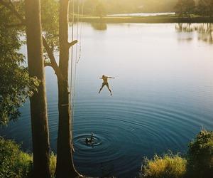 summer, jump, and lake image