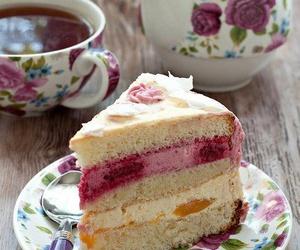 cake, tea, and vintage image
