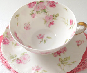 tea, floral, and tea cup image