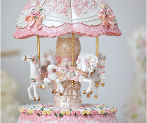 pink, carousel, and horse image