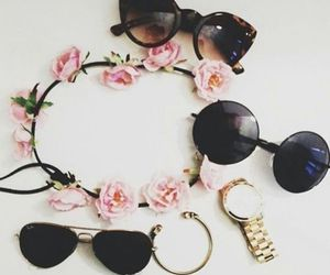 flowers, sunglasses, and summer image
