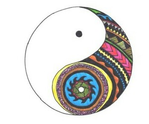 peace, ying yang, and colors image