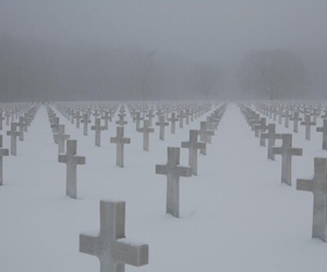 cross, snow, and cemetery image