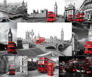 london, travel, and black&red image