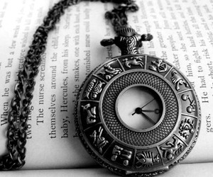 clock, black and white, and book image