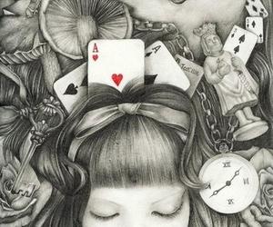 alice, wonderland, and black and white image