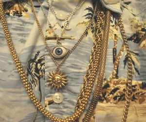 gold, eye, and necklace image