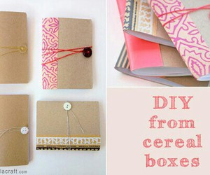 diy, notebook, and cereal box image