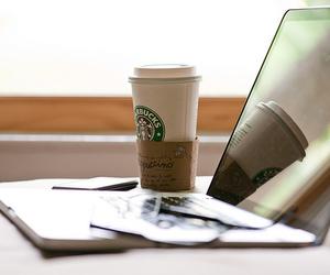 starbucks, coffee, and macbook image
