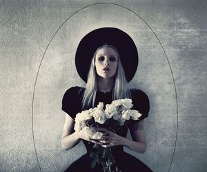 flowers, girl, and goth image