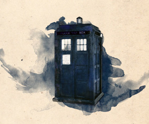 doctor who, tardis, and watercolor image