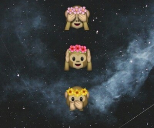 monkey, emoji, and galaxy image