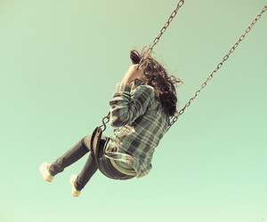 girl, swing, and sky image