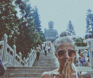 girl, tattoo, and Buddha image