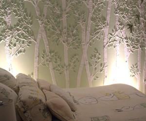 bedroom, tree, and wall image