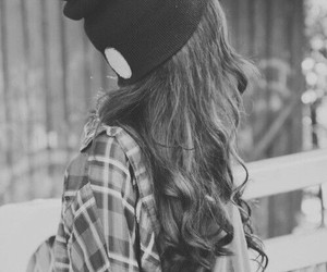 girl, hair, and black and white image