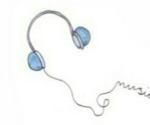 bands, blue, and earphones image