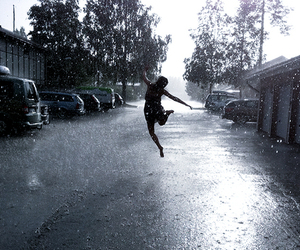 girl, jump, and rain image