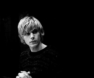 american horror story, evan peters, and black and white image