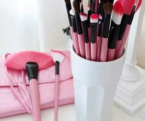 pink, Brushes, and make up image