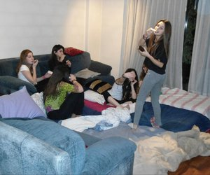 friendship, pillow fight, and slumberparty image