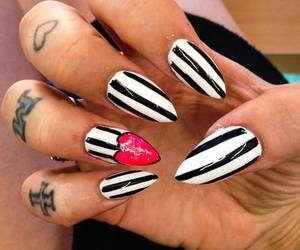 black and white, nails, and pretty image