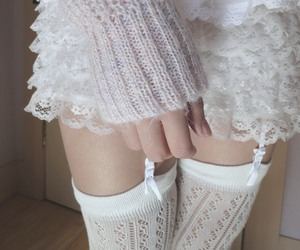 stockings, white, and garters image