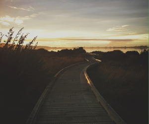 bluff, boardwalk, and cloudy image