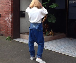 dungarees, trainers, and casual outfit image