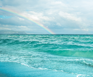cloud, rainbow, and water image
