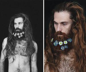 beard, beards, and floral image