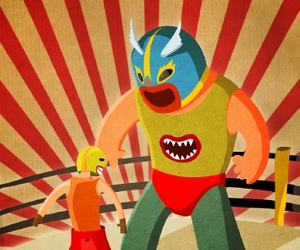 illustration and lucha libre image