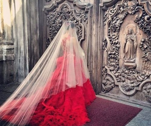 dress, wedding, and red image