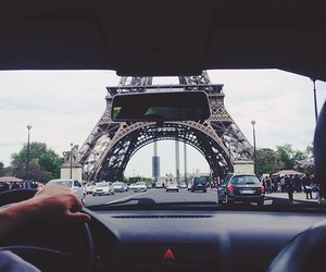 car, eiffiel tower, and drive image