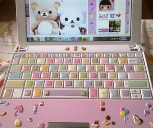 kawaii, pink, and laptop image