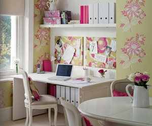 room, flowers, and desk image