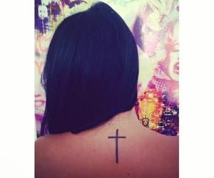 black, brunette, and cross image