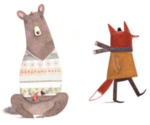 bear, fox, and illustration image