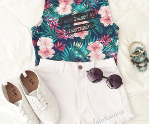 fashion, flowers, and mermaid image
