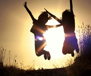 friends, jump, and sun image