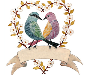 birds, heart, and illustration image