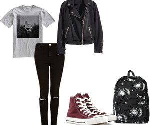 backpack, black, and converse image