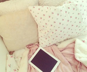 bed, flowers, and pink image
