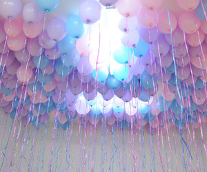 balloons, party, and purple image