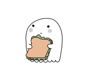 cartoon, ghost, and sandwich image