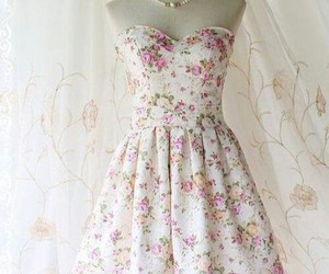 dress, flowers, and floral image